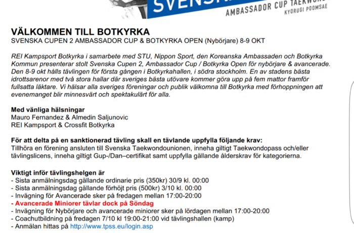 Svenska Cupen 2 och Ambassador Cup