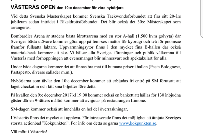 Västerås Open och SM